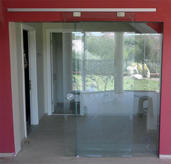 sürme sürgülü kayar cam kapı sistemi paslanmaz montaj 8400